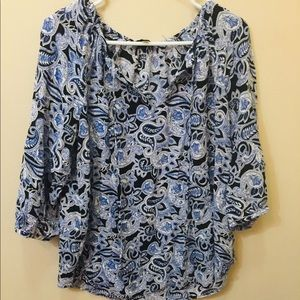 Willi Smith XL Quarter Sleeve Paisley Top